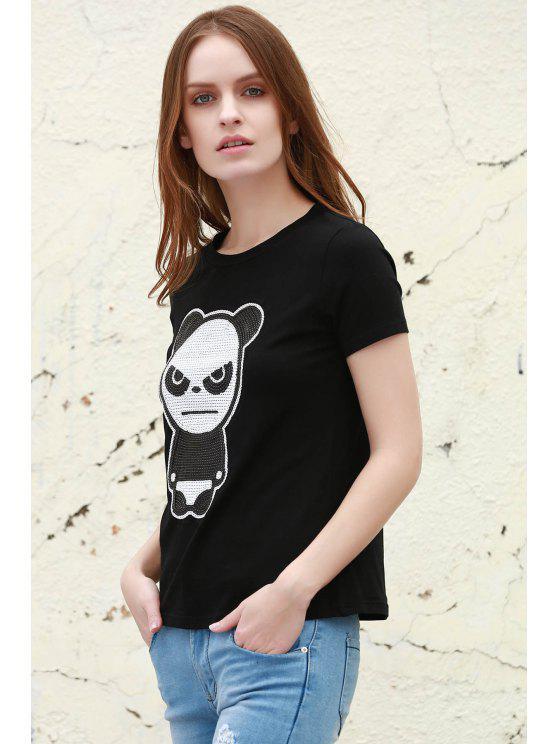 Panda Rond M Manches T shirt CourtesNoir Motif Col VSUpqzM