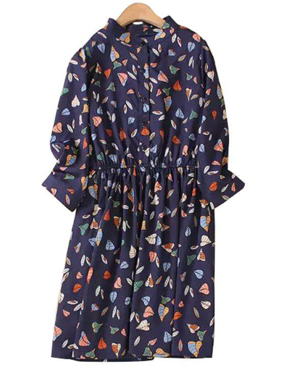 sale Leaf Print Stand Collar 3/4 Sleeve Dress - PURPLISH BLUE XL