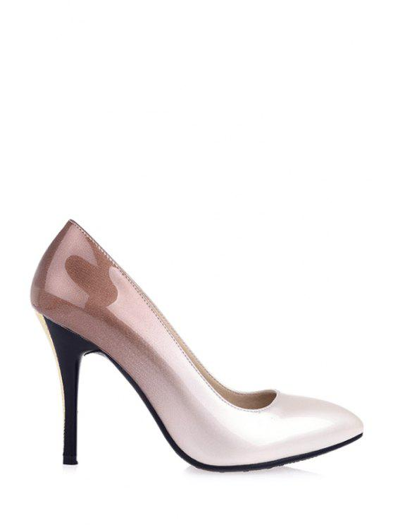 womens Gradient Color Pointed Toe Stiletto Heel Pumps - APRICOT 34