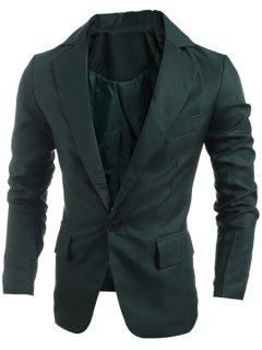 Elegant Pure Color Turn-Down Collar Long Sleeve Men's Single Breasted Blazer - Blackish Green 2xl