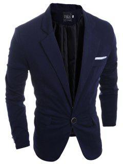 Elégant Turn-Down Collar Blazer Pure Color Fente Arrière Manches Longues Hommes - Bleu Cadette M