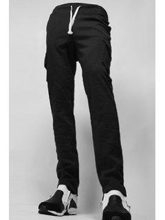 Straight Leg Flap Patch Large Pocket Lace-Up Men's Pants - Black M