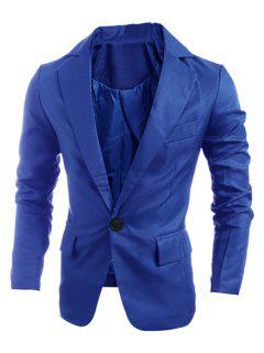 Elegant Pure Color Turn-Down Collar Long Sleeve Men's Single Breasted Blazer - Sapphire Blue L