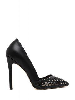 Hollow Out Rivet Pointed Toe Pumps - Black 37