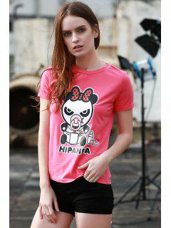 Motif Panda Cartoon Manches Courtes T-shirt - Rose M