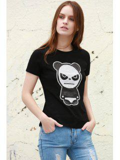 Sequined Panda Pattern Short Sleeve T-Shirt - Black L