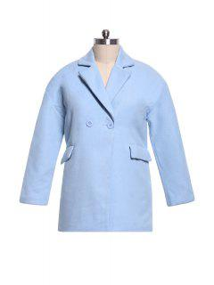 Double-Breasted Lapel Long Sleeve Worsted Coat - Blue 2xl
