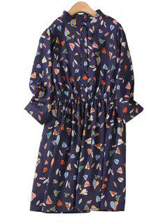 Leaf Print Stand Collar 3/4 Sleeve Dress - Purplish Blue 3xl