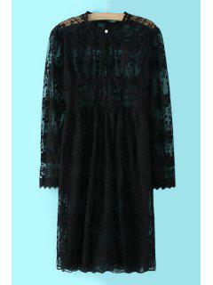 See-Through Lace Round Neck Long Sleeve Dress - Black L