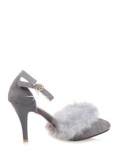 Faux Fur Suede Ankle Strap Pumps - Gray 39
