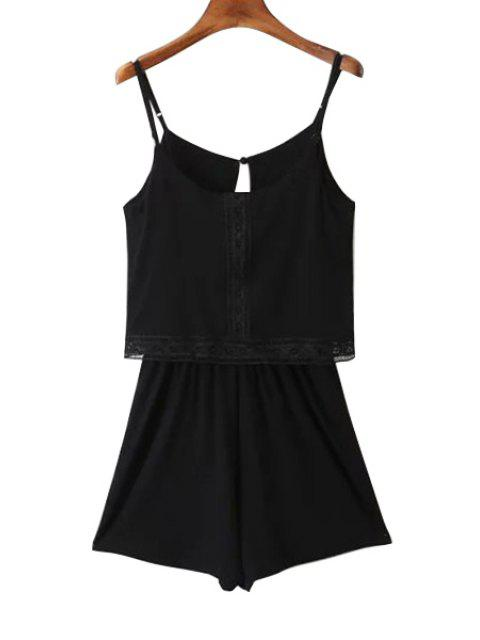 buy Lace Band Collarless Braces Playsuit - BLACK L Mobile