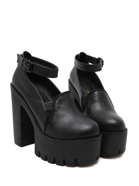 women Ankle Strap Platform Chunky Heel Pumps - BLACK 39 Mobile