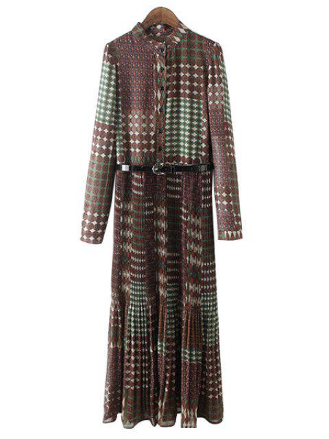 Vintage robe à col montant et  à manches longues et imprimée en motif - GREEN L Mobile