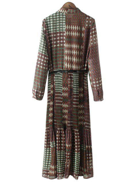 online Vintage Print Stand Collar Long Sleeve Dress - GREEN L Mobile