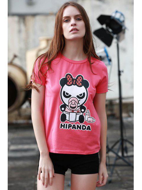 affordable Cartoon Panda Pattern Tee - ROSE L Mobile