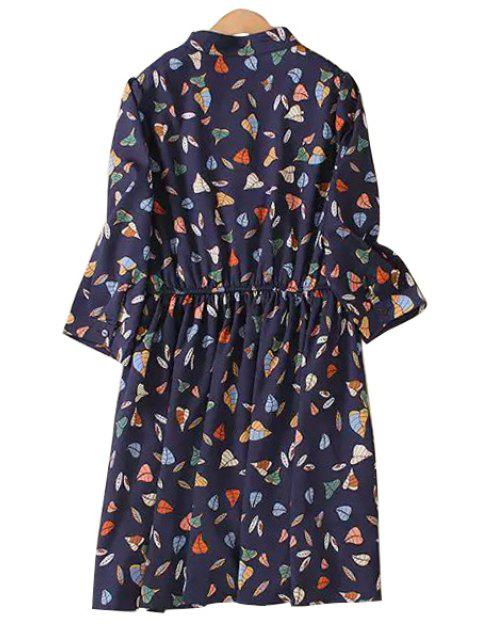 sale Leaf Print Stand Collar 3/4 Sleeve Dress - PURPLISH BLUE XL Mobile