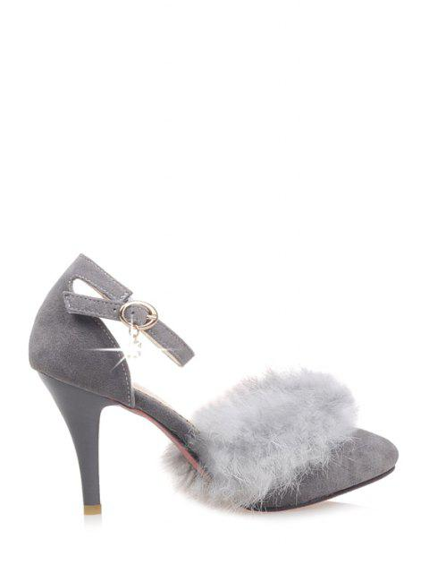 sale Faux Fur Suede Ankle Strap Pumps - GRAY 39 Mobile