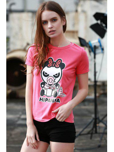 Cartoon Panda Pattern Tee - Rose L