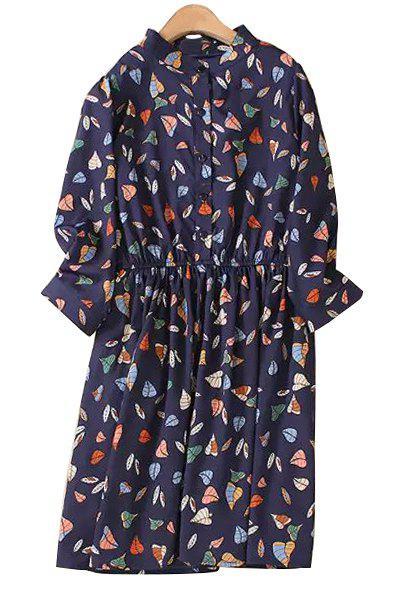 Leaf Print Stand Collar 3/4 Sleeve Dress - PURPLISH BLUE M