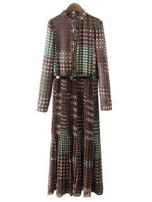 Vintage Print Stand Collar Long Sleeve Dress - Green S