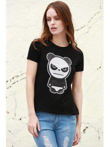 Cuello Negro Corta Patr Camiseta L Redondo 243;n Panda Manga xSURnw