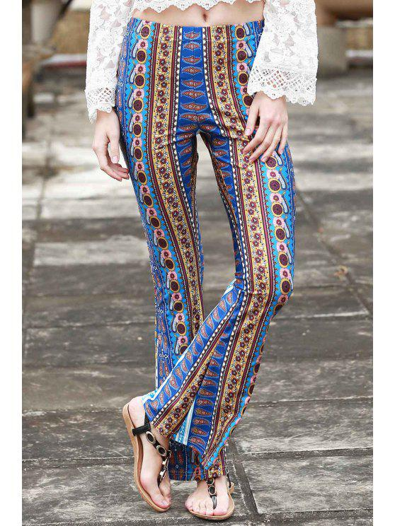 chic Border Print Bell Pants - BLUE S
