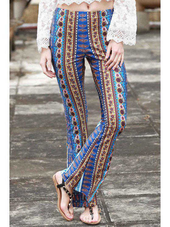 chic Border Print Bell Pants - BLUE S