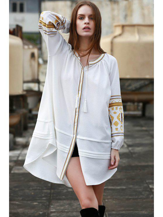 hot Embroidery Stand Neck Long Sleeve Dress - OFF-WHITE M