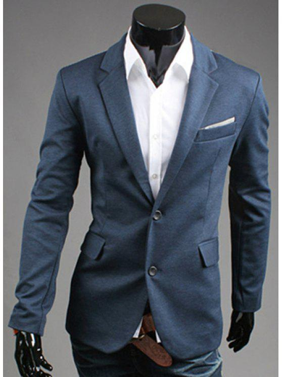 Drehen-Unten Kragen Color Block Spleißen Langarm-Blazer der Männer - Dunkel Blau XL