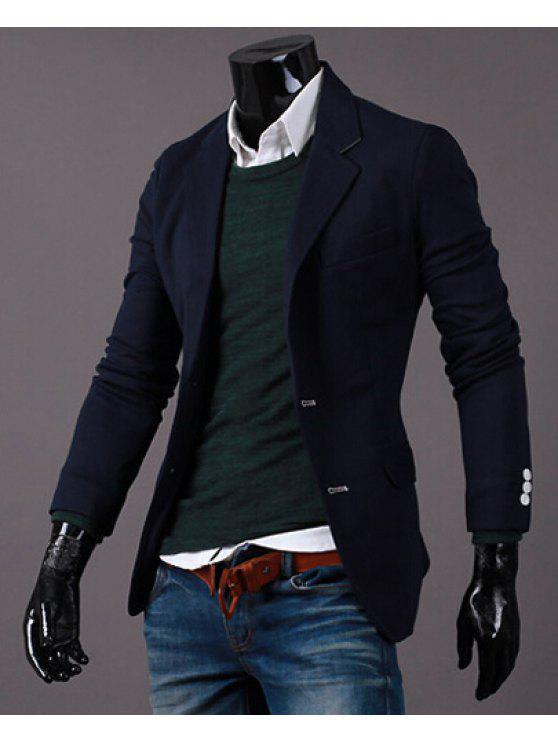 Drehen-Unten Kragen Pure Color Long Sleeve Abnehmen Blazer der Männer - Kadettenblau 2XL