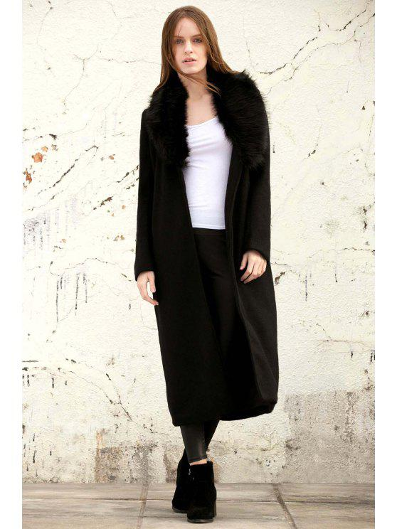 chic Missguided Wool with Big Fur Collar Coat - BLACK S