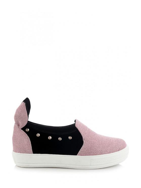 women's Rabbit Ears Color Block Rivets Flat Shoes - PINK 34