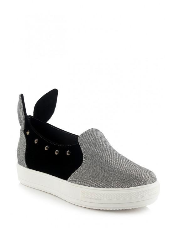 sale Rabbit Ears Color Block Rivets Flat Shoes - SILVER 36