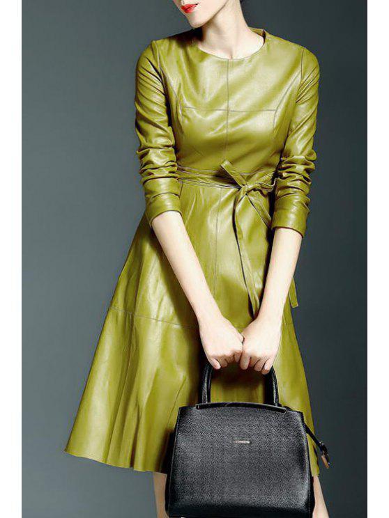 chic Vestido PU Leather Round Collar Waisted Dress - YELLOW S