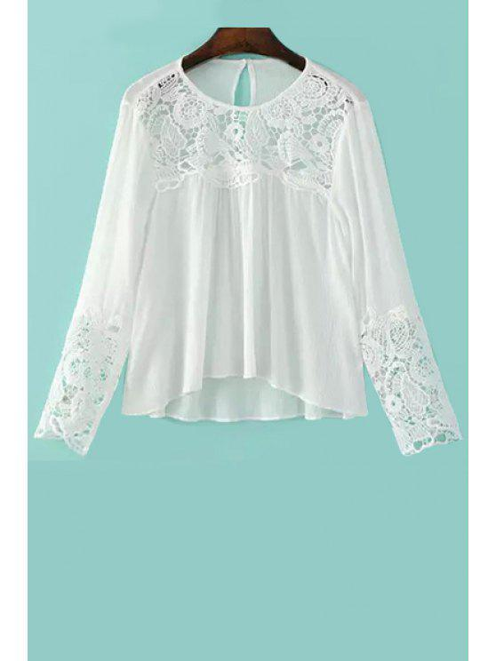 Lace Splicing Rodada Long Neck Sleeve Blusa - Branco L