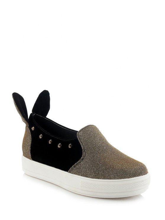 Orejas de conejo color Bloque Remaches Flat Zapatos - Dorado 39