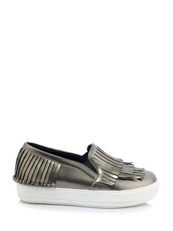 best Multi-Layer Fringe Solid Color Flat Shoes - GRAY 39