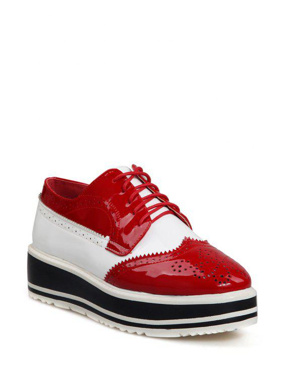 outfits Engraving Color Block Lace-Up Platform Shoes - RED 38