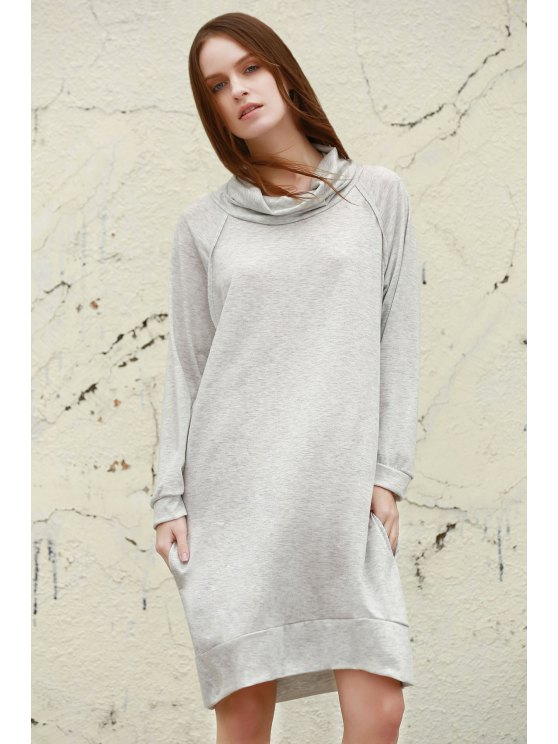 women Heaps Collar Loose Dress - GRAY XL