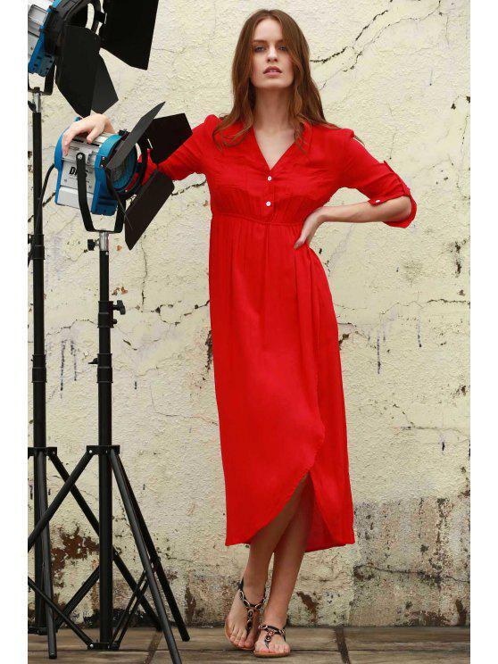 affordable High Slit V Neck Long Sleeve Dress - WATERMELON RED XL