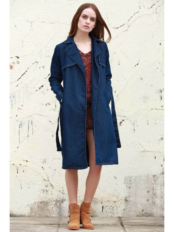 hot Denim Lapel Trench Coat - DEEP BLUE S