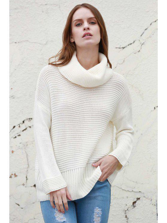 Dividir cuello alto suéter Pullover - Blanco M