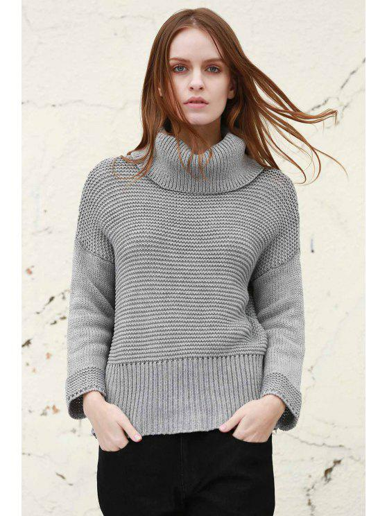 affordable Split Turtleneck Pullover Sweater - LIGHT GRAY L