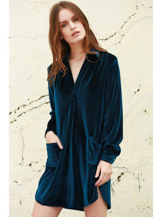 affordable Loose Velvet Shirt Dress - CADETBLUE S