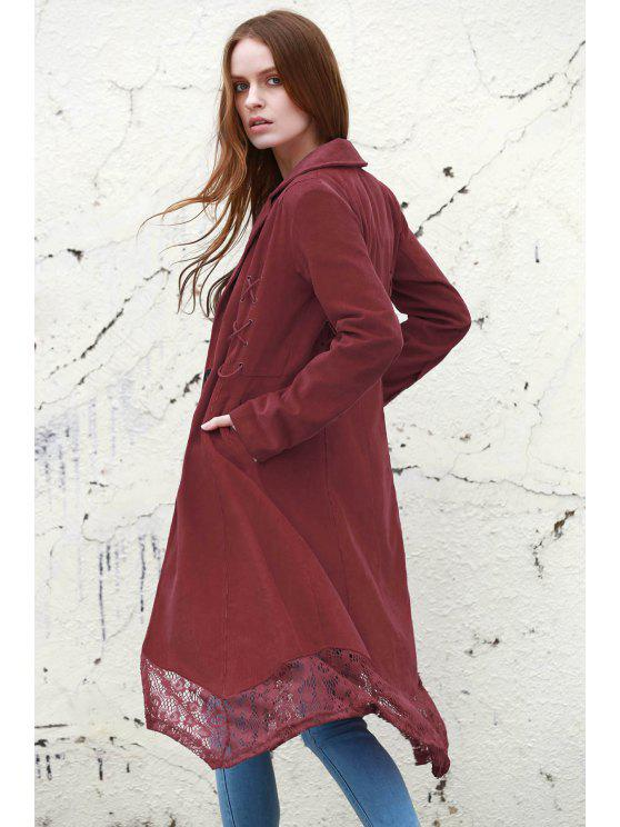 trendy Lace Spliced Lapel Long Sleeve Coat - WINE RED L