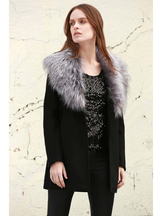 sale Boohoo Shawl Faux Fur Collar Coat - BLACK S