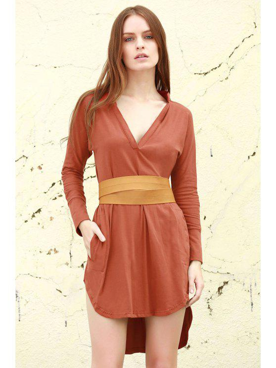 latest Plunge Belted High Low Dress - BROWN L