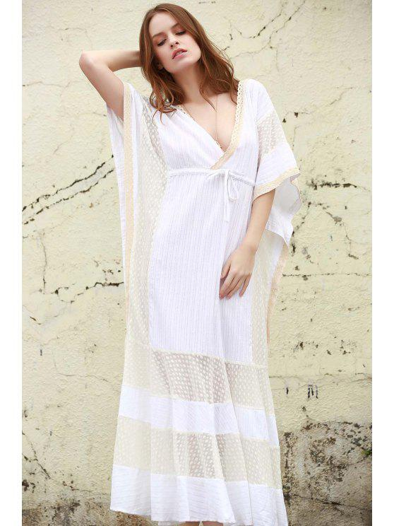 outfits Plunge Mesh Panel Maxi Dress - WHITE S