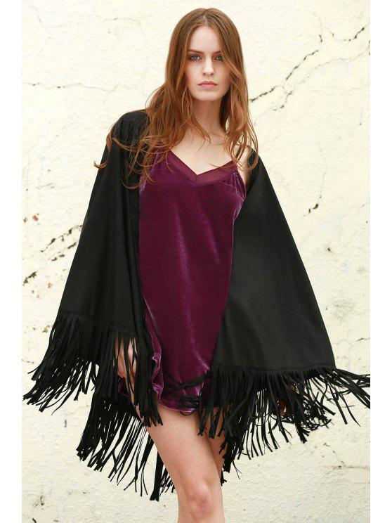 affordable Fringe Faux Leather Shawl - BLACK L