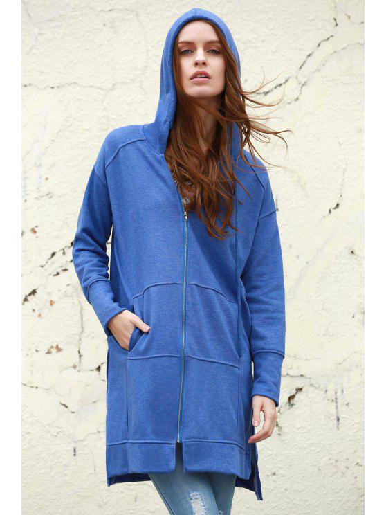 women's Ziggy Washed Solid Color Hoodie - BLUE M